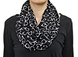 Seamaidmm Summer White Sun Glasses / Sunglass Print Infinity Circle Scarf Black