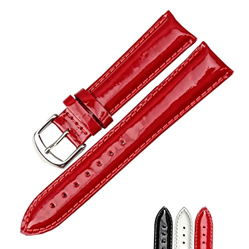 MAIKES 12 14 16 18 20mm Genuine Leather Watch Band Fashion Watchband Shine Noble Women Patent leather Watch Strap (20mm, Red+Silver Buckle) Patent Watch Strap