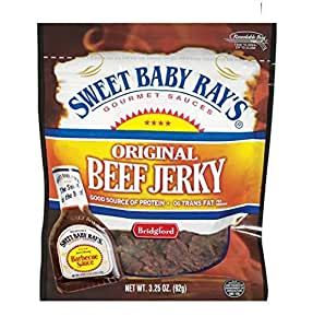 Bridgford, Sweet Baby Ray's, Original Beef Jerky, Barbecue BBQ Sauce, 3.25oz Pouch (Pack of 4)