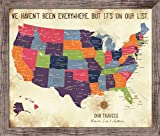 USA Map FRAMED, Vintage Inspired Map, 20X24 Inches, Keepsake gift, Push Pin Travel, Gift for parents