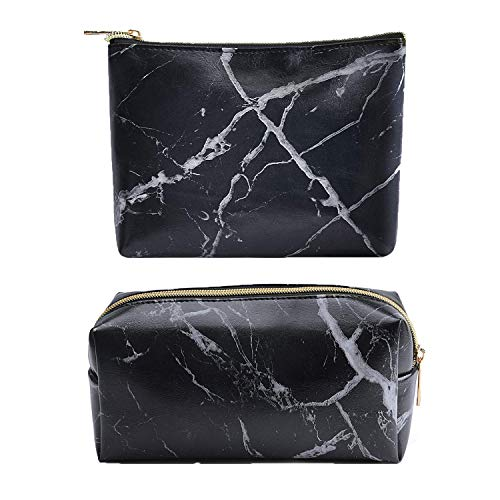 Marble Makeup Bag,2 Pack Marble Cosmetic Bag Small Makeup Pouch for Purse Waterproof Marble Pattern Cosmetic Pouch (Black)