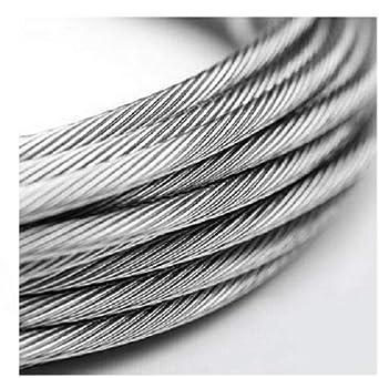 10 Metros - Cuerda de alambre de acero inoxidable 8 mm 7 x 7 ...