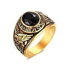 Vnox Men's Stainless Steel Black Rhinestone High School Class Ring,Graduation Gift,Gold,Size 8-11