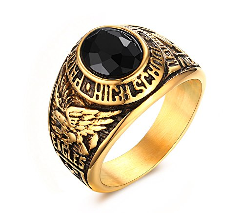 Vnox Men's Stainless Steel Black Rhinestone High School Class Ring,Graduation Gift,Gold Plated,Size ()