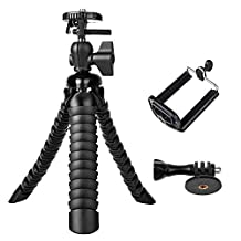 3 in 1 Universal Flexible Tripod 8'' Stand Holder Wrapable Leg with Quick Release Plate and Cell Phone Mount Adapter for Camera DSLR Smartphones (8'' Tripod-Black)