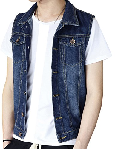TR Mens Denim Vest Washed Old Jacket Sleeveless (Asian XL=US M, Navy Blue) ()