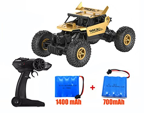 High Speed Off-Road RC Car 1/18 Scale 2.4GHz Radio Remote Control Truck 4WD Electric Race Cars Fast Rock Crawler Off Road Racing Toy Vehicle with 2  Ni-CD Rechargeable Battery (1400mAh+700mAh)(Gold) ()