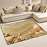 Area Rugs Carpet Doormats 36x24 Inches Beach Shells Starfish Sand for Living Room Bedroom Decorative Non-Slip Floor Mat