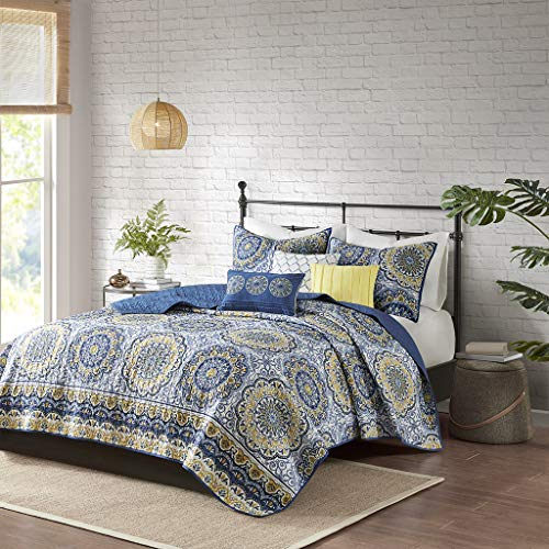 Madison Park Tangiers 6 Piece Reversible Coverlet Set, King/Cal King, Blue (Bedding Piece 6 King Cal)