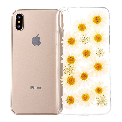 Fresh Flowers Bloom (GWLuck GWL-RFCX-Bloom Daisy Preserved Fresh Flower Case For iPhone X Case With Real Dry Floral Petal Leaves Embedded Clear Gel TPU Cover Scratch-Resistant For Girls - Bloom Daisy)