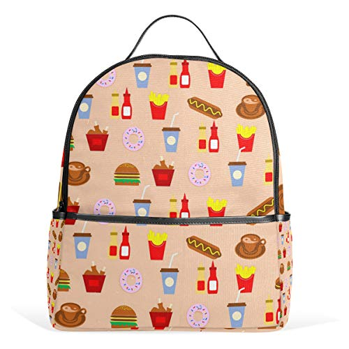 MUOOUM Donut Hamburgers French Fries Backpack Casual Daypack School College Travel Bag for Teens Boys Girls]()