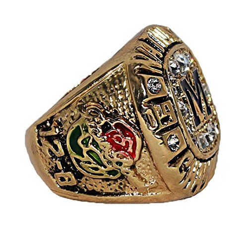 UNIVERSITY OF MICHIGAN (Brian Griese) 1997 NCAA FOOTBALL NATIONAL CHAMPIONS (Rose Bowl) Rare & Collectible High Quality Replica Football Gold Championship Ring with Cherrywood Display Box