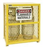 Durham Steel/Iron Vertical Cylinder Storage Cabinet, EGCVC2-50, 2 Cylinder Capacity, 20'' Length x 30'' Width x 33-1/2'' Height, Yellow Powder Coat Finish