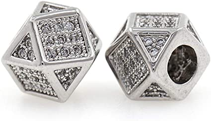 Triangle Spacer Bead,Micro Pave Clear CZ Stone Big Hole Beaded Charms,Original DIY Jewelry Findings 8x8mm