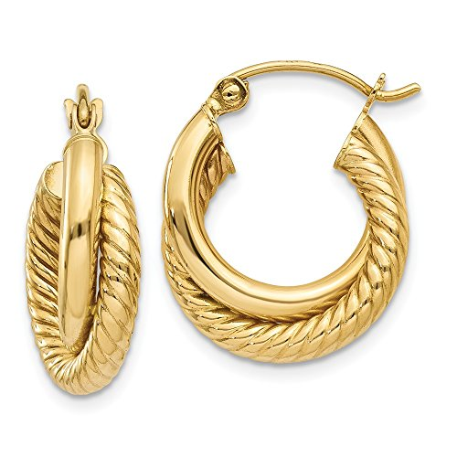 14k Polished and Twisted Double Hoop Earrings by CoutureJewelers