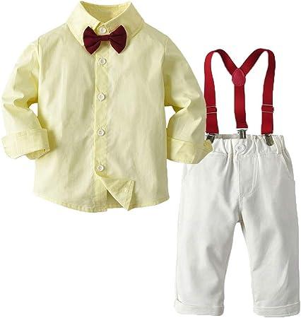 PUJIANGxian BoyVarious Traje de Dos Piezas para niños de Manga Larga Camisa Vestido Overol, Amarillo, 90 cm: Amazon.es: Hogar
