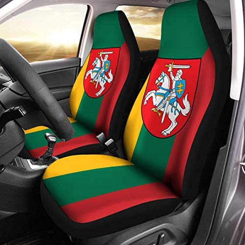 (Lithuanian Coat of Arms Lithuania Flag Car Seat Covers Set of 2 Size Universal Fit)
