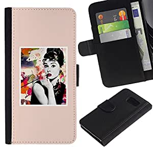 A-type (Poster Movie Star Actress Hollywood) Colorida Impresión Funda Cuero Monedero Caja Bolsa Cubierta Caja Piel Card Slots Para Samsung Galaxy S6