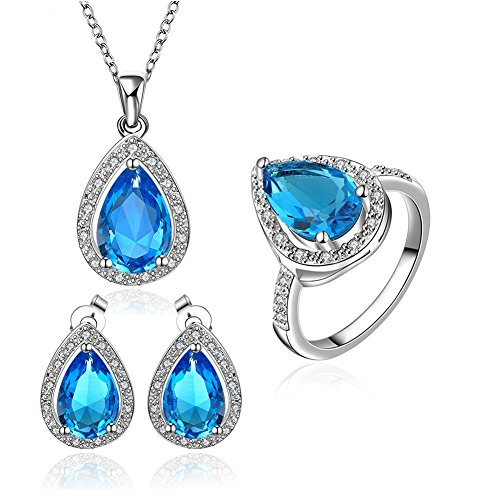 [Peacock Birthstone Crystal Teardrop Stud Earrings Women Jewelry Sets CZ Edge Pendant Necklace &] (Iconic Women In History Costumes)
