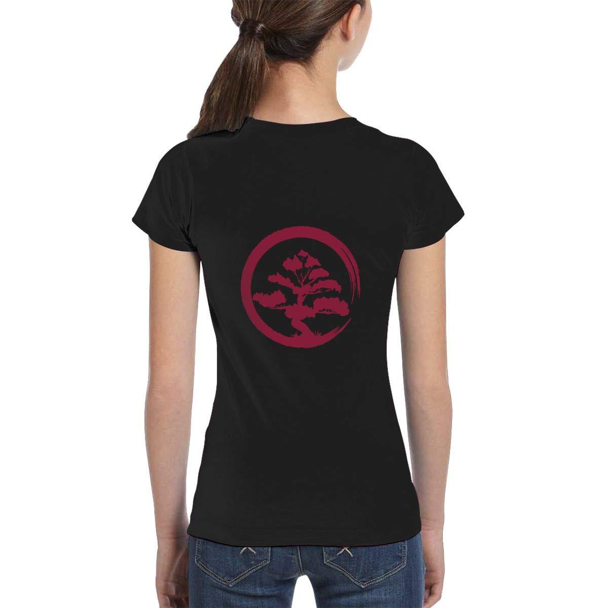 Casual Tunic Shirt Dress XS-XL L6Nv4o@A Girls Short Sleeve Bonsai Tree Shirts