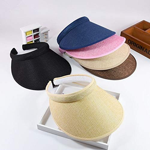 49005dbd3e5e6 Amazon.com  LooBooShop Summr Women Casual Sun Visor Hat Beach Empty hat  Ladies Adjustable Nature Straw Topless Cap  Kitchen   Dining
