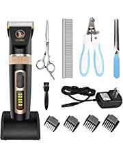 Ceenwes Dog Clippers Low Noise Pet Clippers Rechargeable Cordless Professional Dog Grooming Clippers with Power Status Dog Grooming Kit with 11 Tools for Dogs Cats Other Animals