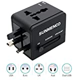 SUNMENCO All-In-One Worldwide Travel Plug Adapter International AC Power Adapter Safety Wall Charger & Converter (US/JP UK EU AU/CN) w/2 USB Charging Ports for iPhone 8 7 7s Laptops (Black)