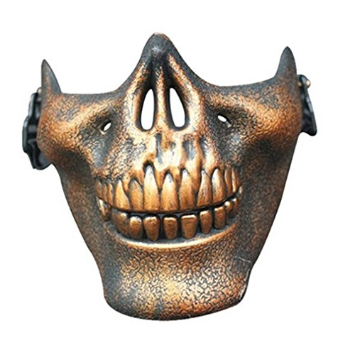 GUAngqi Halloween Skull Skeleton Half Face Skull Mask For Halloween, CS, Costume Party,Antique (Halloween Skull Mask)
