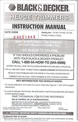 Black Decker Hedge Trimmer Owners Instruction Manual Operating