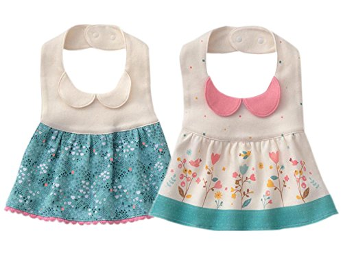 GZMM Baby Girl's Princess Type Waterproof Bibs with Adjustable Snaps,2 Pack -