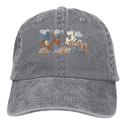 JHDHVRFRr Hat Running Horse Denim Skull Cap Cowboy Cowgirl Sport Hats for Men Women