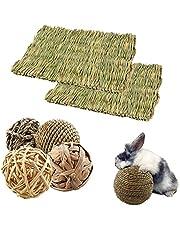 N/0 Kaninleksaker, 6-pack vävd sängmatta för kaniner, vävd gräsboll, små djur naturlig rottingleksak naturlig molar tänder vård leksaksset leksak, för kanin hamster marsvin gerbils