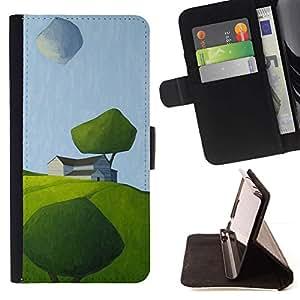 For Apple (4.7 inches!!!) iPhone 6 / 6S Case , Moderno Arte Pintura verde del campo del verano- la tarjeta de Crédito Slots PU Funda de cuero Monedero caso cubierta de piel