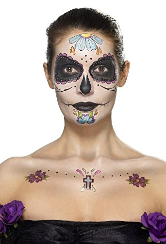 Smiffy's Halloween Day of The Dead Face Tattoo Transfers (Halloween Face Tattoos Uk)
