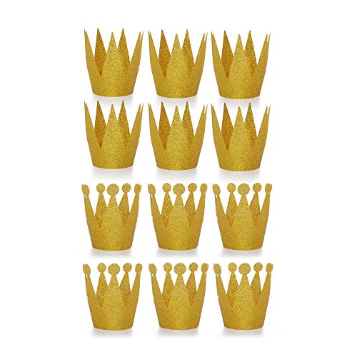 Amy Basic 1 12 Pcs Gold Crown Hats for Birthday, Party and Wedding Anniversary
