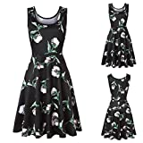 Flurries Dress, Women Sleeveless Printing Summer Beach A Line Casual Dress Floral Dress (L, Black)