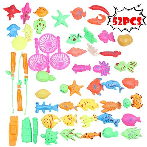 52k Players - Multi-Player Game Bath Toys for Kids Fishing Magnetic Toys, Boys and Girls Super Fun Interaction Floating Fishing Game - Shipped from US (Pack of 52) ( A)