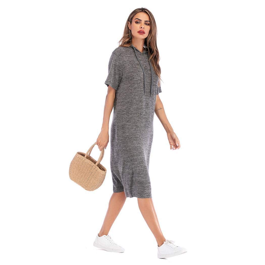 929819be169 loukou Women Casual Short Sleeve Hooded Solid Pullover Sweatshirt Dress  Dresses Grey
