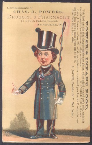 (Chas J Powers Infant Food Syracuse NY trade card coachman with whip 1881)