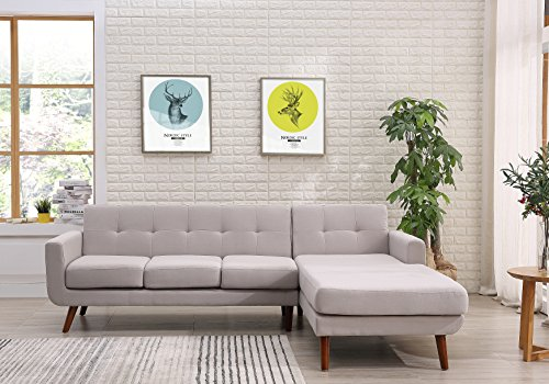 - Container Furniture Direct S0124R-2PC Andy Linen Upholstered Midcentury Modern Right-Sided Sectional Sofa, 69.29