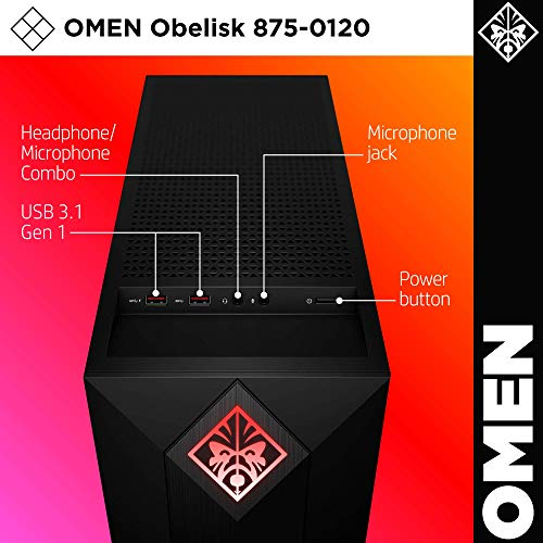 Omen by HP Obelisk Gaming Desktop Computer, Intel Core i5-9400F Processor, NVIDIA GeForce GTX 1660 6 GB, HyperX 8 GB RAM, 512 GB SSD, VR Ready, Windows 10 Home (875-0120, Black) (Renewed)