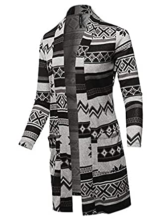 Awesome21 Women's Casual Solid and Print Long Sleeves Long-Line Soft Sweater Knit Cardigan - Black - 3X-Large