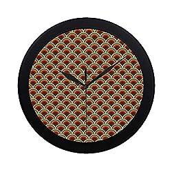 C COABALLA Circle Circular Plastic Wall Clock,Conceptual Design Retro Style Circular Shapes Dots Spots Curvy Wavy Old Fashioned for Home,9.65 D