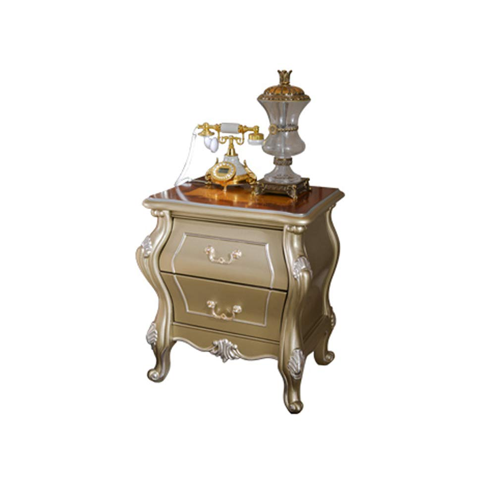 家具ベッドサイドテーブル - 手彫りヨーロッパベッドサイドテーブルソリッドウッド製フレンチベッドルームベッドサイドキャビネット引き出し収納キャビネットペイントキャビネット - シャンパンシルバー   B07RWCZ62T