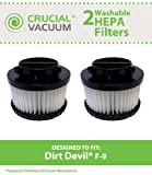 2 Highly Durable Washable & Reusable Dirt Devil Style F9 HEPA Filters; Compare to Dirt Devil Part Nos. 3DJ0360000, 2DJ0360000; Designed & Engineered by Crucial Vacuum