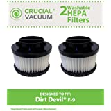 2 Highly Durable Washable & Reusable Dirt Devil Style F9 HEPA Filters; Compare to Dirt Devil Part Nos. 3DJ0360000, 2DJ0360000; Designed & Engineered by Think Crucial