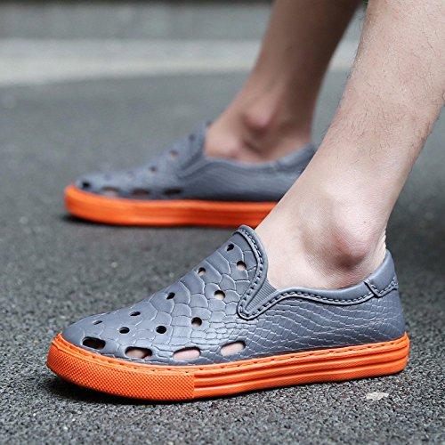 Il nuovo estate Uomini Buco scarpa Tempo libero sandali Uomini pelle tendenza sandali Uomini Spiaggia scarpa ,grigio,US=7,UK=6.5,EU=40,CN=40