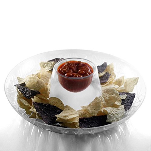 Party Essentials Hard Plastic 16-Inch Round Diamond Cut Chip  and Dip Tray, Crystal Clear, Single Unit