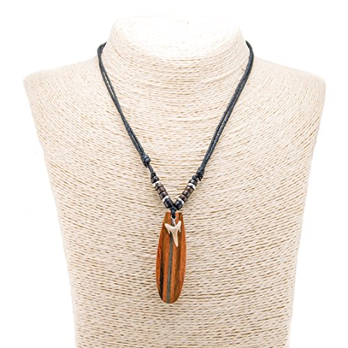 Genuine Shark Tooth and Wood Surfboard Pendants on Adjustable Black Rope Cord with Brown Coconut Wood Beads (Board Jewelry Pendant)