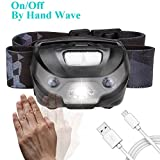 Headlamp Flashlight - USB Rechargeable 200 Lumens Cree Led, Best for Outdoor/Indoor Activities, Hand-free SENSOR Switching ON/OFF. Super Bright, Lightweight & Comfortable, Easy to Use